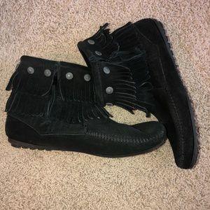 Minnetonka Double Fringe Ankle Boots